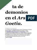 Lista de demonios en el Ars Goetia