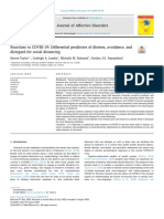 Reactions to COVID-19 Differential predictors of distress, avoidance, and disregard for social distancing