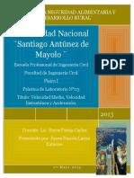 INFORME DE LABORATORIO N°3-VELOCIDAD MEDIA,VELOCIDAD INSTANTÁNEA Y ACELERACIÓN.doc