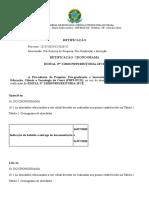 Retificação Indicação bolsista EDITAL 01 2020 - PIBIC IFCE PRPI