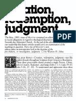 [JOHNS Warren H.] Creation, redemption, judgment (Ministry, 1983-07)