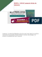 ¡Atención! 24.° PROFA_ AMAG anuncia fecha de examen de conocimientos _ LP