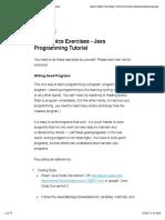 Java Basics Exercises - Java Programming Tutorial