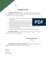 Affidavit of Loss Diadem Monana