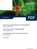 Edexcel GCE Biology Specification For International Centres Only