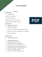 Test d'évaluation A2-B1 2019