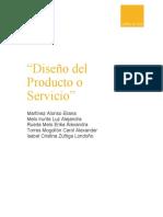 Evidencia diseño del producto o servicio