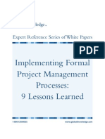 Implementing Formal Project Management Process 9 Lessons Learned