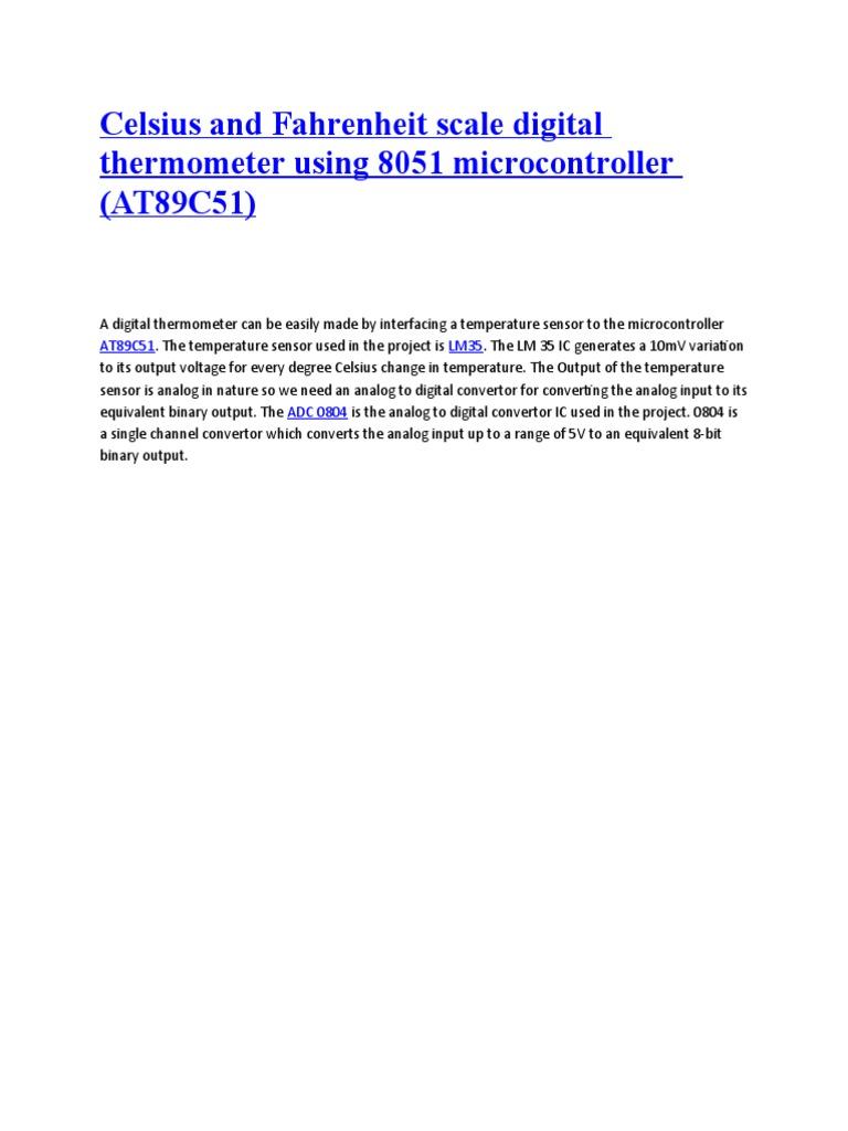 Temp Indicator Use At89c51 Digital Signal Analog To Clock Using 8051 Microcontroller Lcd Display Mini Project Converter