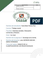 ENSAYO DE LA CLASIFICACION DE LOS ROLES SOCIALES