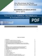 plan de desarrollo educativo pasto 2012-2015