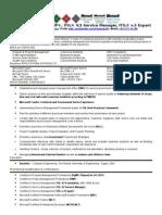 Projects Manager Resume, PMP, ITIL v.2 Service Manager, ITIL v.3 Expert