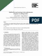 bloch1996 Stabilization and tracking in the nonholonomic integrator via sliding modes