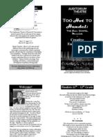 Too Hot to Handel Poetry Contest Finalists Program Book Insert