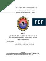 aVULNERACIÓN DE LOS DERECHOS HUMANOS EN LA PROVINCIA DE ESPINAR POR EL PROYECTO MINERO TINTAYA ANTAPACCAY