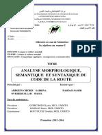 ANALYSE MORPHOLOGIQUE, SEMANTIQUE ET SYNTAXIQUE DU CODE DE LA ROUTE