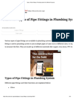 Types of Pipe Fittings in Plumbing System for Different Purposes