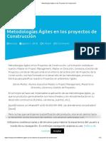 Articulo, Metodologías Ágiles en los Proyectos de Construcción
