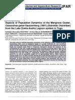 Aspects of Population Dynamics of the Mangrove Oyster, Cassostrea gasar Dautzenherg (1891) (Ostreida