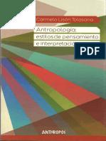 Antropología estilos de pensamiento e interpretación