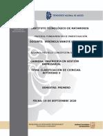 CLASIFICACIÓN DE CIENCIAS