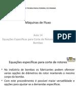 14 - Equações Especificas para Corte de Rotores e  Associação de Bombas