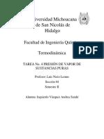TAREA 4 PRESIÓN DE VAPOR DE SUSTANCIAS PURAS (ASIV)