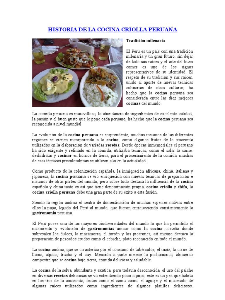 historia de la cocina criolla peruana