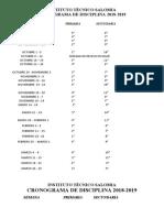 CRONOGRAMA DISCIPLINARIO 2018-2019