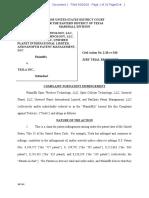 20-09-20 Optis PanOptis Unwired Planet v. Tesla Complaint