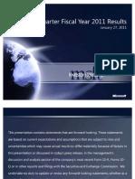 Microsoft Q2 Fiscal 2011 Earnings