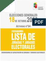 JURADOS ELECTORALES 2020 CBBA