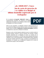 CASACIÓN LABORAL Nº 10028-2017, CUSCO