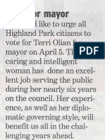 Olian for Mayor - Letter to the Editor from Ruth Buhai