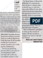 Olian Serves City Well - Letter to the Editor from Marty and Jamie Schrero