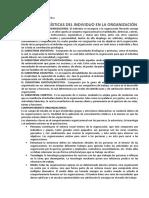 características del individuo en la organización psicología