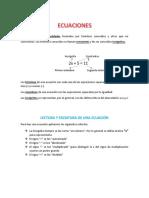 Ecuaciones. Tema 1