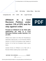 Affidavit in a Civil Revision Petition n_s 115 of CPC seeking stay against order _Download Format