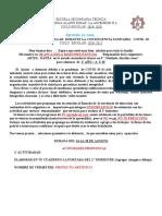 ACTIVIDADES COVID 19 CICLO ESCOLAR 2020- 2021 artes 1O A