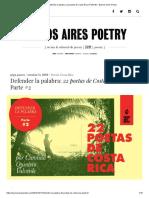 Defender la palabra_ 22 poetas de Costa Rica _ Parte #2 – Buenos Aires Poetry