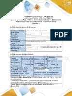 Guía de actividades y rúbrica de evaluación - Fase 5 - Elaboración Marco Lógico del proyecto social -Evaluación Final
