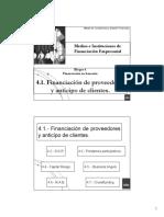 4.1.Financiación proveedores y anticipo clientes