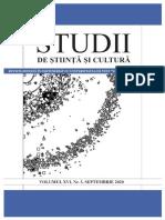 """""""Studii de Știință și Cultură"""", Volumul XVI, Nr. 3 (62), septembrie 2020"""