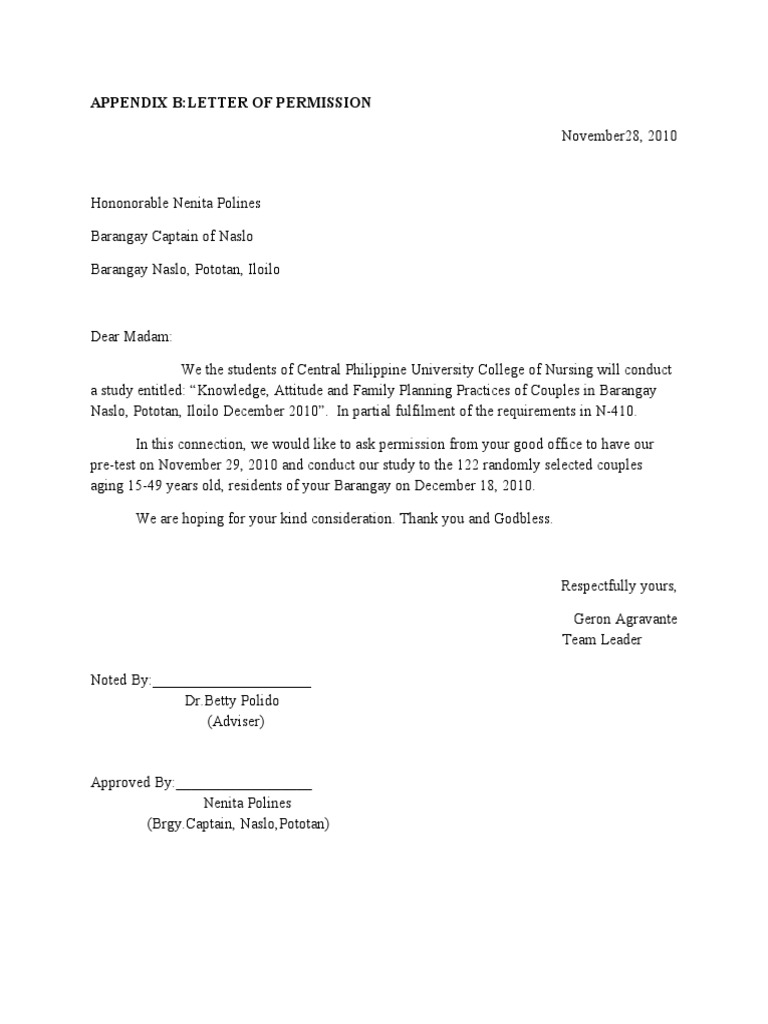 approval letter for conducting research