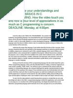BASICS IN C PROGRAMMING