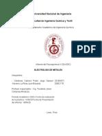 Informe de Electrólisis de Metales