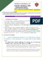 CIENCIAS SOCIALES 11 EVALUACIÓN FORMATIVA IP 2020