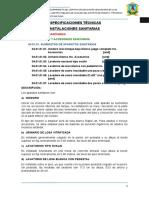 ESPECIFICACIONES TECNICAS INS SANITARIAS