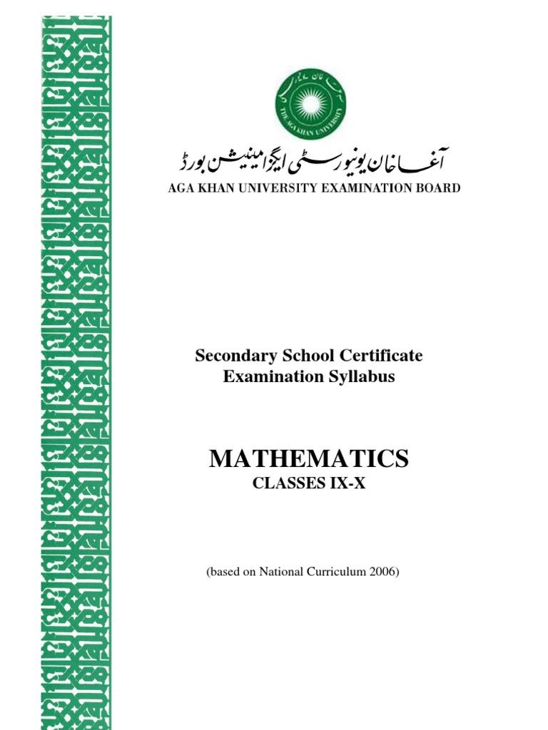Mathematics: Secondary School Certificate Examination Syllabus