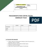 PROCEDIMIENTO PARA CORTAR,SOLDAR, ESMERILLAR Y PULIR